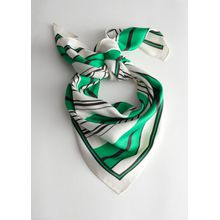 Striped Satin Scarf - White