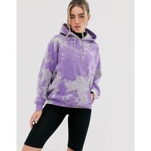 New Girl Order - Oversize-Kapuzenpullover mit Batikmuster und Grafikprint am Rücken - Violett