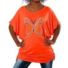 Diva-Jeans G411 Damen Longshirt Shirt Tunika Bluse Schmetterling T-Shirt Tank Top Minikleid, Farben:Orange;Größen:Einheitsgröße