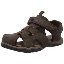 Timberland Active Casual Sandal_Oak Bluffs Leather Fisher, Unisex-Kinder Geschlossene Sandalen, Braun (Dark Brown), 34 EU