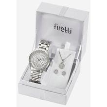 Firetti Quarzuhr »TLA-91304-Set« (Set, 5 tlg., Uhr mit 2 Ohrsteckern und Kette 45 cm verstellbar)