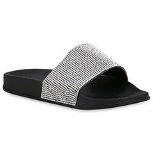 Stiefelparadies Damen Schuhe Sandaletten Pantoletten Badelatschen Strass Hausschuhe 158048 Schwarz 37 Flandell