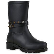 Stiefelparadies Damen Gummistiefel Nieten Regen WasserdichtMetallic Stiefel Boots Blockabsatz Profilsohle Schuhe 124115 Schwarz 36 Flandell