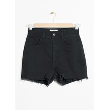 High Waisted Denim Shorts - Black
