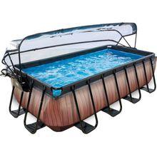 EXIT Frame Pool 4x2x1m mit Sonnendach, Holz Optik braun