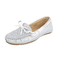 Ital-Design Mokassins Damen-Schuhe Geschlossen Moderne Halbschuhe Silber, Gr 41, 477-Bl-