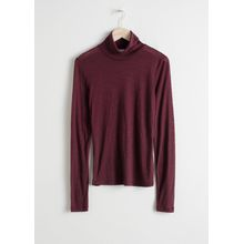 Thin Wool Knit Turtleneck - Red