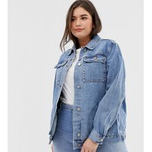 ASOS DESIGN Curve - Girlfriend-Jeansjacke in Blau, Stone-Waschung - Blau