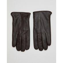 ASOS DESIGN – Braune Touchscreen-Lederhandschuhe