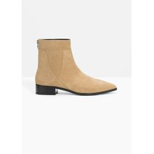 Leather Zip Boots - Beige