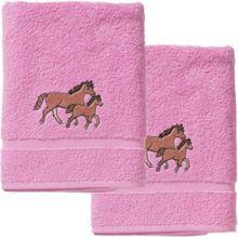myToys Handtuch 2er Set, je 50 x 100 cm, Pferd, rosa