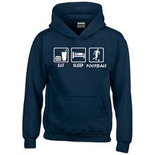 EAT SLEEP FUSSBALL Kinder Sweatshirt mit Kapuze HOODIE navy-weiss, Gr.140cm