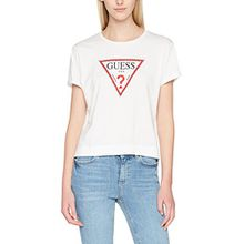 Guess Damen T-Shirt SS RN Triangle Studs, Weiß (True White A000), X-Small