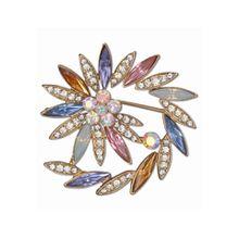 J.Jayz Brosche »spiralförmige Optik, Steine in Mandelform« mit Glassteinen