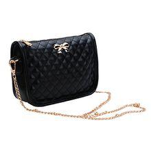 Minetom Ledertasche Damen Bowknot umhängetasche Handtasche Satchel Messenger Purse Tasche 5 Farben ( Schwarz )