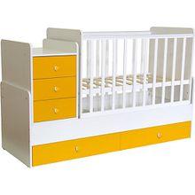 Kombi-Kinderbett Simple 1100 mit Kommode, weiß - gelb, 1227.18 gelb/weiß