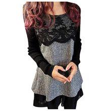 Damen Pullover mit Spitze Sweatjacke Minikleid Longshirt Bluse Tops Sweater Sweatshirts Jumper Pulli Herbst Winter