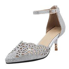 AIYOUMEI Damen Spitz Glitzer Pumps mit Knöchelriemchen Kleinem Absatz Pumps mit Strass Kitten Heel Cut Out Modern Schuhe
