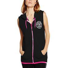 Golds Gym Damen Sportpullover Muscle Joe Ladies Premium Sleeveless Hoodie, Black (Black/Hot Pink), Medium