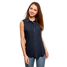 oodji Ultra Damen Viskose-Ärmellose Bluse mit V-Ausschnitt, Blau, DE 36/EU 38/S