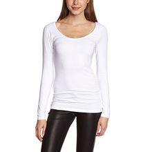 ICHI Damen Langarmshirt N JENA LS, Einfarbig, Gr. 42 (Herstellergröße: XL), Weiß (10100 White)