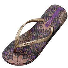 Hotmarzz Damen Zehentrenner Böhmen Blumen Sommer Sandalen Flip Flops Badeschuhe Size 36 EU/37 CN, Violett