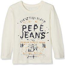 Pepe Jeans Jungen Long Sleeve Top Pb501398, Weiß (Mousse), 8 Jahre (Herstellergröße: 8)