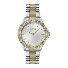 Zweifarbige Uhr mit kristallbesetzter Lünette und Gliederarmband