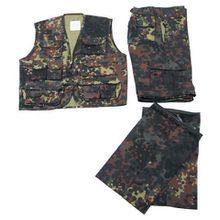 Kinder-Anzug, flecktarn, Weste und Hose, mit abnehmbaren Beinen, Größe L
