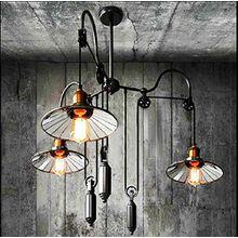 QWER Pendant Deckenleuchte Lampe Industrial Air Retro American-Style Wohnzimmer Landhausstil Gabelstapler Kronleuchter Silber Spiegel, 3 Heben des Erntevorsatzes Kronleuchter (Silber)