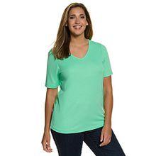 Ulla Popken Damen Große Größen | T-Shirt, Unterziehshirt, Jersey-Shirt, Basic | Slim Fit | V-Ausschnitt, Halbarm | bis Größe XXXL | Hellgrün 50/52 704316 42-50+