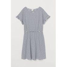 H & M - Kleid aus geflammtem Jersey - Blue - Damen