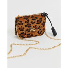 Glamorous - Umhängetasche mit Leopardenmuster und Kettenriemen - Braun