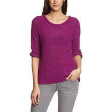 TOM TAILOR Denim Damen Pullover tape yarn with bow/412, Einfarbig, Gr. 40 (Herstellergröße: L), Violett (bright orchid pink 5502)
