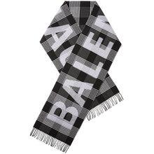 Balenciaga - Karierter Schal Aus Wolle Mit Intarsienmotiv Und Fransen - Schwarz