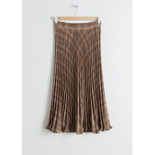 Pleated Plaid Midi Skirt - Brown