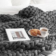 JIANGFU Original dicke Wolldecken,100 * 120cm Hand Chunky gestrickte Decke dicke Wolle sperrige Strick werfen (DG)