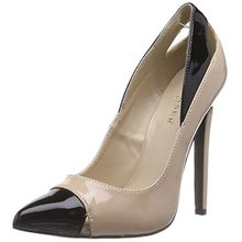 Pleaser Devious SEXY-22, Damen Pumps, Beige (Nude-Blk Pat), 40 EU (7 Damen UK)