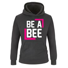 Comedy Shirts - BE A BEE - Kinder Hoodie - Schwarz / Weiss-Pink Gr. 140
