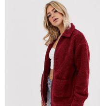 Missguided - Oversized-Jacke mit durchgängigem Reißverschluss und Kunstfell - Rot