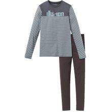 SCHIESSER Schlafanzug hellblau / kastanienbraun / violettblau