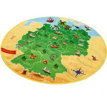 Kinderteppich Deutschlandkarte, 130 cm rund