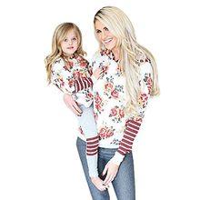 Mutter und Tochter Kapuzenpullover Blumen Streifen Familie Kleidung Loveso Damen Kinder Hoodie Sweatshirt Tops Pullover (38 (L), Mutter)