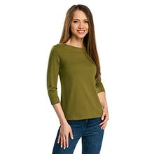 oodji Collection Damen T-Shirt mit 3/4-Arm, Grün, DE 34/EU 36/XS