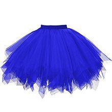 Damen Tutu Rock Tüllrock Kurz Rockabilly Kleid Petticoat Kleider Fasching Elegant (One Size, Blau)