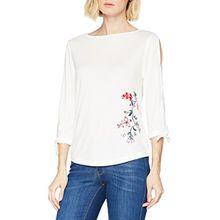 s.Oliver Damen T-Shirt 14.803.39.7315, Elfenbein (Creme Embroidery 02l0), 44