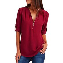 Damen Chiffon Bluse Shirt Tops in V-Ausschnitt mit Zipper Langarmshirt Damen Chiffonbluse Damenblusen Longbluse Blusenshirt Blusentop Sommerblusen Tops Shirtbluse Festliche Shirt (Red, L)