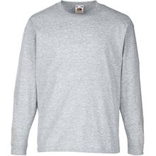 Fruit of the Loom - Kinder Langarmshirt 'Longsleeve Valueweight T' / Heather Grey, 128