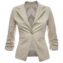 Eleganter Damenblazer Blazer Baumwolle Jäckchen Business Freizeit Party Jacke in 26 Farben 34 36 38 40 42, Farbe:Beige;Größe:XL-42