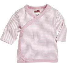 Schnizler Unisex Baby Hemd Wickelshirt, Flügelhemd, Erstlingshemd Langarm Ringel, Oeko Tex Standard 100, Gr. Frühchen (Herstellergröße: 44), Rosa (Weiß/Rose 586)